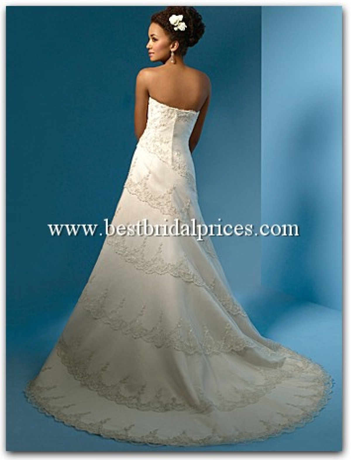 A line lace wedding dress with straps